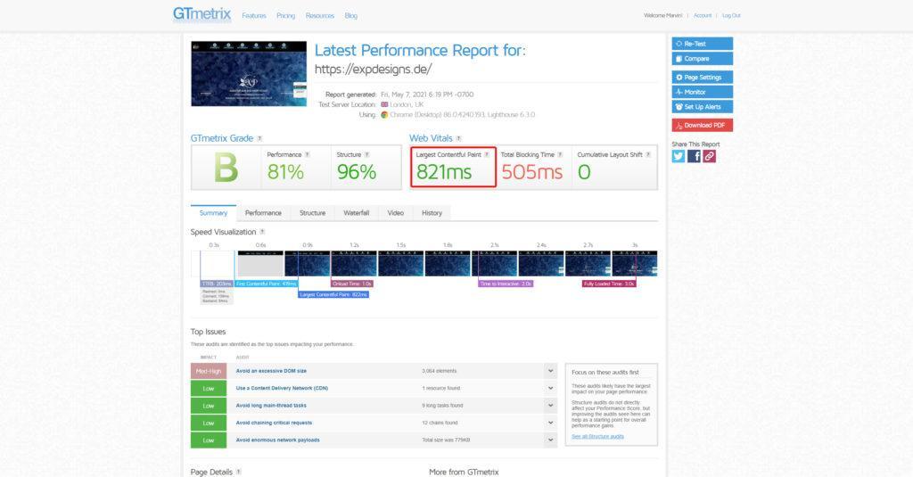 Webseite selbst testen - GT Metrix