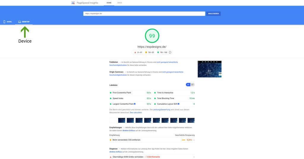 Webseite selbst testen - Google Page Speed Score Desktop