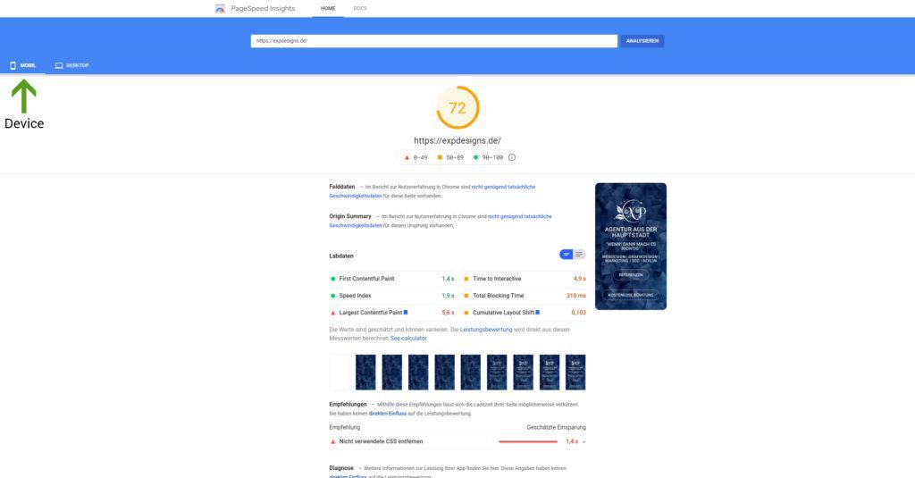 Webseite selbst testen - Google Page Speed Score Mobil